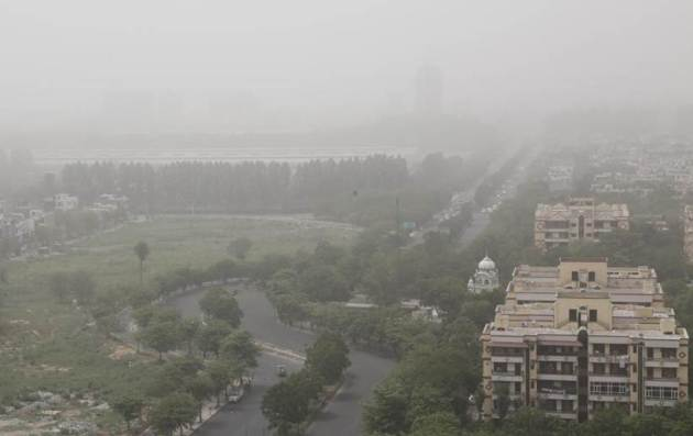 Dusty conditions, which are likely to continue through the weekend, have impacted visibility in Delhi-NCR. PM10 levels were at 796 at 8.30 this morning, reported news agency PTI. People are advised to remain indoors as the current situation is likely to cause discomfort or breathing difficulties. (Express photo/Jasbir Malhi)
