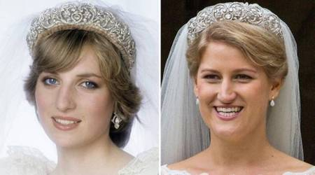 Princess Diana tiara, Celia McCorquodale wedding, Prince Harry's cousin wedding tiara, Princess Diana tiara price, Diana tiara design, diana tiara pics, Spencer tiara, indian express, indian express news