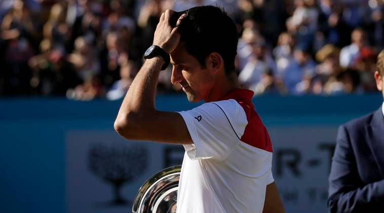 Serbia's Novak Djokovic after losing to Croatia's Marin Cilic in the final tennis match at the Queen's Club tennis tournament in London