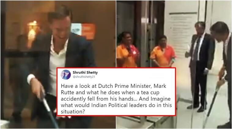 dutch pm drops, mark rutte drops coffee, mark rutte dutch pm, dutch pm spills coffee and cleans up, dutch pm mark rutte spills coffee, mark rutte dutch PM drops coffee Twitter reactions, Indian express, Indian express news