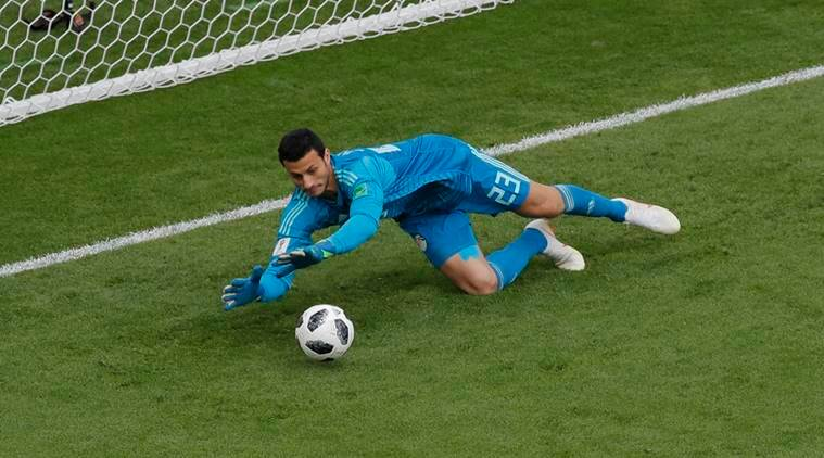 Egypt goalkeeper Mohamed Elshenawy stops a kick during the group A match between Egypt and Uruguay at the 2018 FIFA World Cup