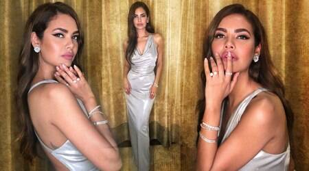 Esha Gupta's risque metallic gown is a boring pick for an evening soiree; see pics
