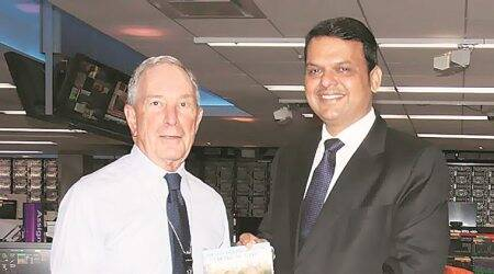 Maharashtra CM Devdendra Fadnavis, Michael Bloomberg discuss fintech startups, road safety project