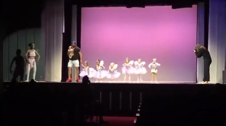 father daughter ballet, father ballet dance, viral video, kid ballet with father, father day, cute video, cute children video, indian express