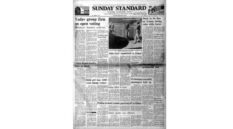 Indian express front page, Indian express forty years ago, Indian express on May 4, 1978, Indian express editorial