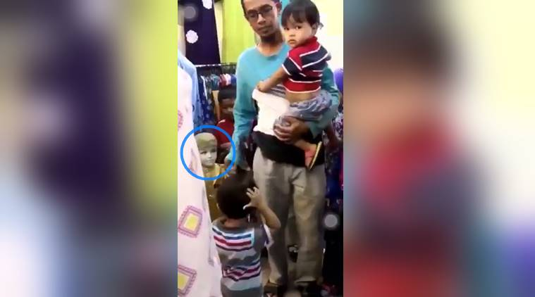 funny dad, dad takes mannequin instead of child, confused dad viral video, dad funny video, indian express, indian express news