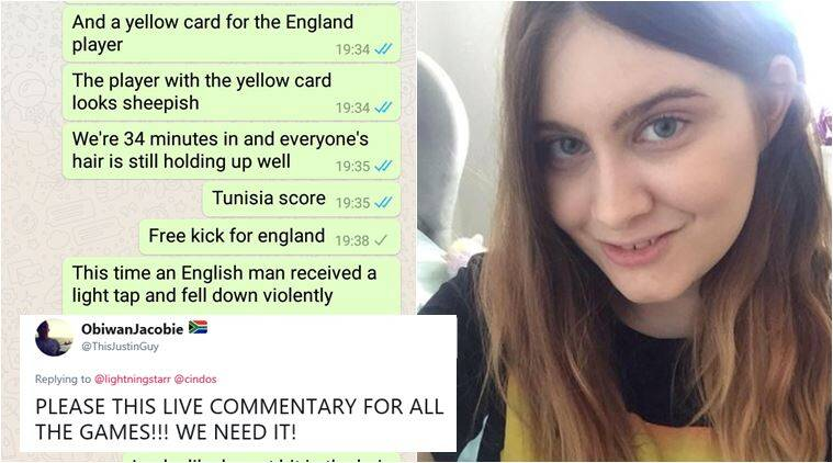 fifa world cup 2018, fifa wc 2018, england vs tunisia, engtun, girlfriend funny football commentary, funny football commentary, viral news, funny news, football news, indian express
