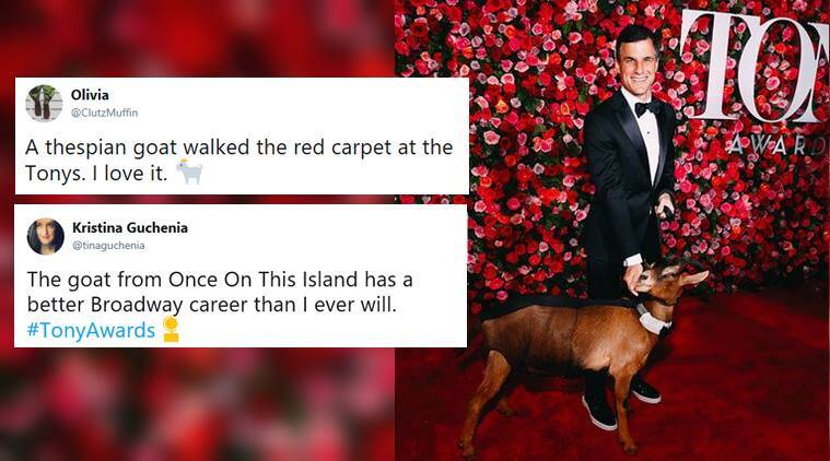 tony award, tony award 2018, tony award red carpet, goat at tony award, Once On This Island, Once On This Island goat, ooti goat tonay award, viral news, entertainment news, indian express