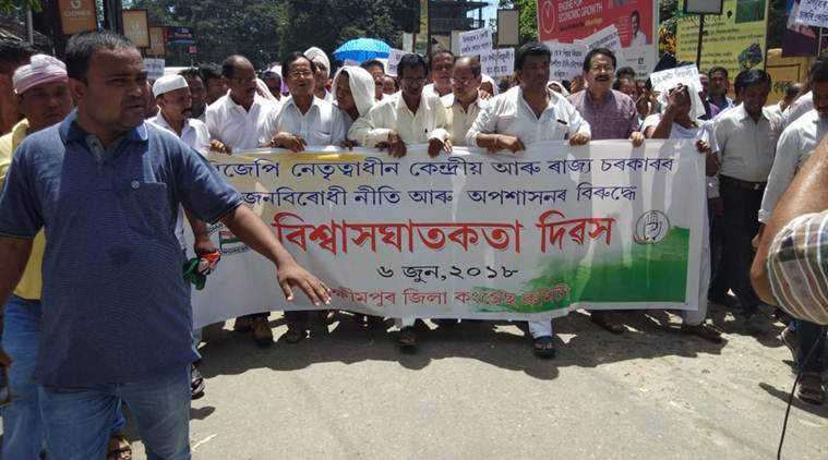 """Three people were arrested by the Assam police in Lakhimpur on Thursday in connection with the use of a minor girl in a Congress-led protest against rising fuel prices and non-fulfilment of promises by the BJP government on June 6. The 4-and-half-year old was allegedly made to sit on a dried sheath from a betel nut tree (dhokuwa in Assamese) and dragged around on the road along with the protestors in the harsh sun. The three apprehended include the child's mother, local Congress member Jitumoni Das and local journalist Kumud Barua. The Assam State Commission for Protection of Child Rights (ASCPCR) immediately notified the Lakhimpur police when they learnt of the incident. """"We instructed the Police Administration to take immediate necessary action against the perpetrators as the action is a punishable offence u/s 75 of the Juvenile Justice (Care and Protection of Children) Act, 2015,"""" says Dr. Sunita Changkakati, chairperson, ASCPCR. A suo moto case was registered by the Lakhimpur Police the day after the incident. """"The three are out on bail. We arrested the child's mother, the boy who dragged the dhokuwa and the journalist who had disclosed the identity of the child in the media,"""" says Sudhakar Singh, Superintendent of Police, Lakhimpur. The incident earned the ire of many child rights' groups as well as student bodies across Assam. """"Children who are exploited for unconscionable gains (such as this case) are victims. She was too young to even understand what was going on,"""" Miguel Das Queah, Child Rights Activist, Executive Director, UTSAH Child Rights Organisation. """"If this was a Scandinavian country, the child would have been taken to the State's Foster Care system."""" The child's mother, when contacted by the Child Welfare Commission (CWC) of Lakhimpur, went on record to say that she """"got the dhokuwa from home and was apparently meant to sit on it herself, but her daughter went and quickly sat on it instead."""" The intention of sitting on the dhokuwa was symbolic. As """