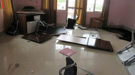 The students not only vandalised the window panes of the office buildings, but also computers, chairs. (Express photo/Jimmy Leivon)