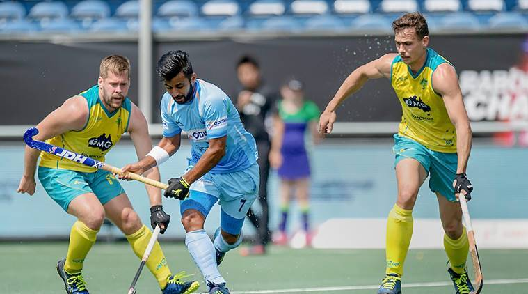 Indian and Australian hockey players in Champions Trophy