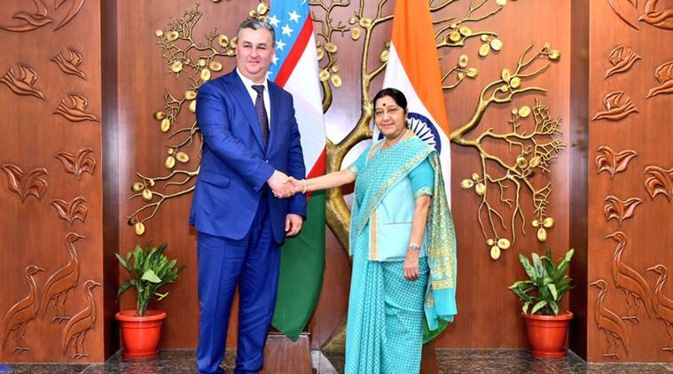 India-Uzbekistan, Sushma Swaraj, Uzbekistan's Wise Deputy Prime Minister of Uzbekistan Suhrob Kholmuradov, Sushma Swaraj (Twitter / @ MEAIndia / File) </span></p><p> More than 115 delegates from 69 countries will be a Gandhi- route begins Gujarat where they visit Sunday to visit Punsari village in Sabarkantha, Dandi Kutir and Mahatma Mandir in Gandhinagar, and Sabarmati Ashram in Ahmedabad.</p><p> Among those visiting the state include Vice-President of Uzbekistan Sukhrob Kholmuradov and ministers from 46 other countries. <br /> During the day-long tour, delegates will travel to Punsari in northern Gujarat before returning to Gandhinagar and Ahmedabad.</p><p class=