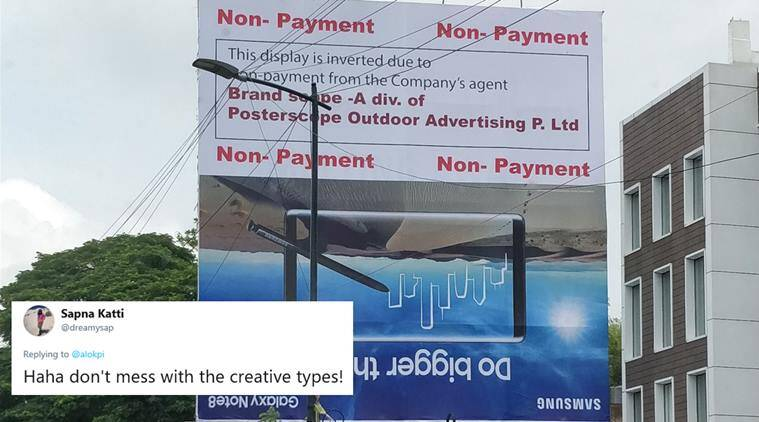 inverted ads, non payment ad gency protest, powerful advertisement, unusual advertisement, funny news, odd news, bengaluru news, viral news, indian express