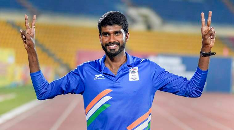 Kerala's Jinson Johnson celebrates after creating a national record in the men's 800m run during the 58th National Inter-State Senior Athletic Championships 2018 at Indira Gandhi Athletic Stadium, in Guwahati