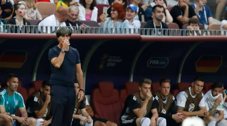 Germany head coach Joachim Loew looks on as time runs out in their group F match between against Mexico at the 2018 soccer World Cup in the Luzhniki Stadium in Moscow