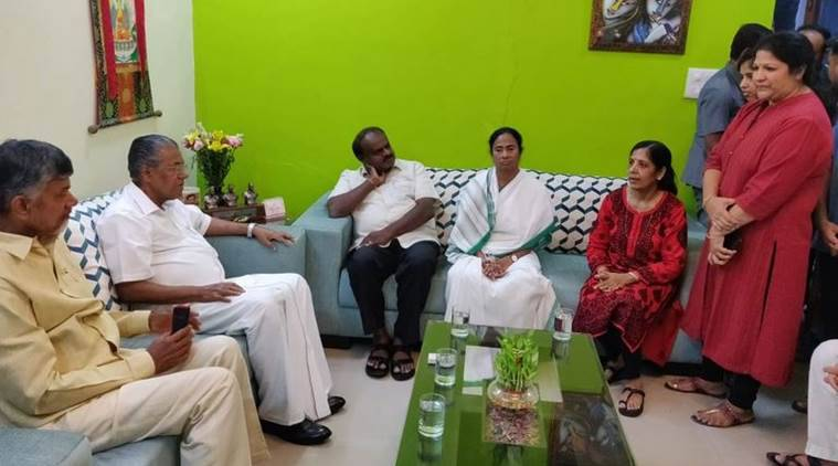 All the four CMs at Arvind Kejriwal's residence on Sunday. (Twitter/@AamAadmiParty)