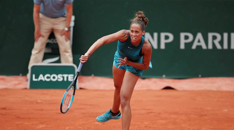 Madison Keys in action against Yulia Putintseva in quarterfinals of French Open