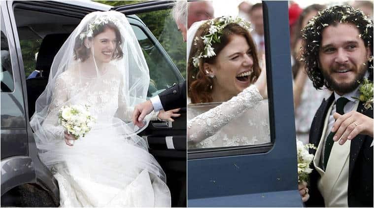 Jon Snow wedding, Kit Harrington wedding pics, Rose Leslie wedding gown, Rose Leslie Elie Saab, Game of Thrones wedding, indian express, indian express news