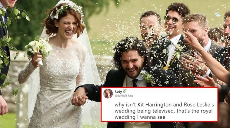 kit harrington, rose leslie, kit harrington wedding, kit harrington rose leslie wedding, kit harrington game of thrones wedding, jon snow wedding, kit harrington rose leslie wedding pictures, kit harrington rose leslie wedding videos viral, Indian express, Indian express news