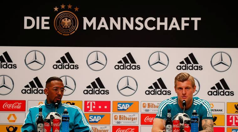 Germany's Jerome Boateng and Toni Kroos during the press conference in Moscow