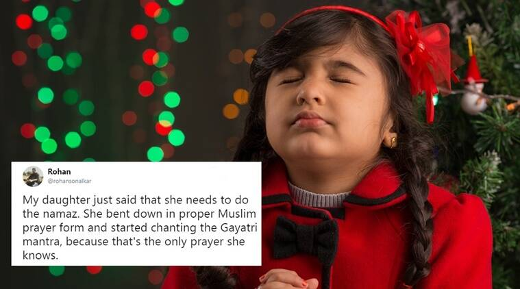 india viral, viral in india, rohan daughter namaz, daughter namaz gayatri mantra, little girl says gayatri mantra in namaz position viral story, Indian express, indian express news