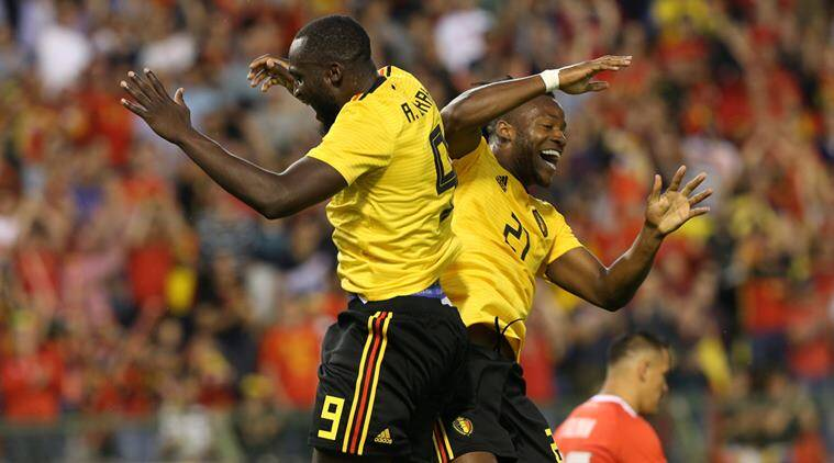 Belgium's Michy Batshuayi celebrates scoring their fourth goal with Romelu Lukaku against Costa Rica