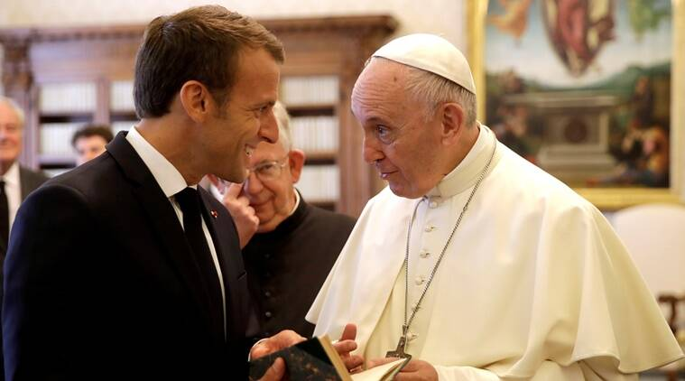 Emmanuel Macron, French President, Pope Francis, Macron meets Pope, Vatican City, world news, indian express news