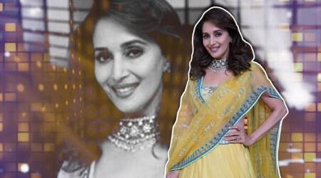 Madhuri Dixit in a lemon yellow Anita Dongre lehenga is pure #sunshinelove