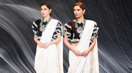 Mahira Khan's ruffled black crop top makes this plain white sari way TOO stylish