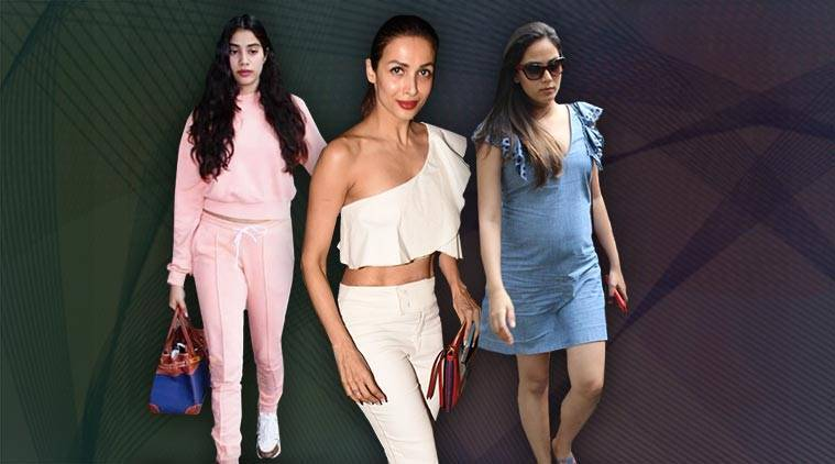 Malaika Arora,Jahnvi Kapoor, Mira Rajput, bollyfood fashion, street style, celebrity fashion, street trends, striped shirts, blazers, sneakers, Indian Express, Indian Express News