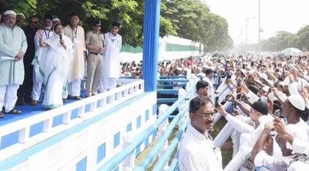 West Bengal Chief Minister Mamata Banerjee at the prayer gathering at Red Road in Kolkata on Saturday. (Twitter/@MamataOfficial)