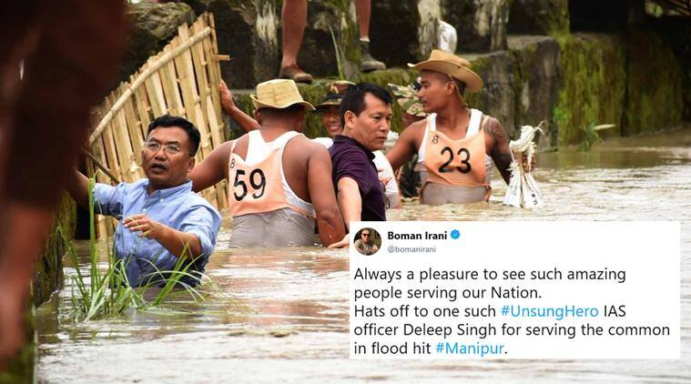 manipur, north east floods, manipur flood, maniful rainfall, manipur ias officer photo, deleep singh ias manipur, manipur flood ias offier, viral news, soical media news, indian express