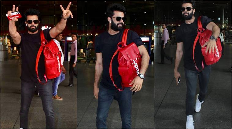 Manish Paul, Manish Paul's Louis Vuitton bag, Manish Paul Supreme Louis Vuitton, Manish Paul airport look, Manish Paul bag, Manish Paul latest photos, indian express, indian express news