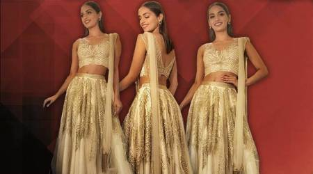 Manushi Chhillar models Bangalore-based Zara Umrigar's first ethnic Indian outfit
