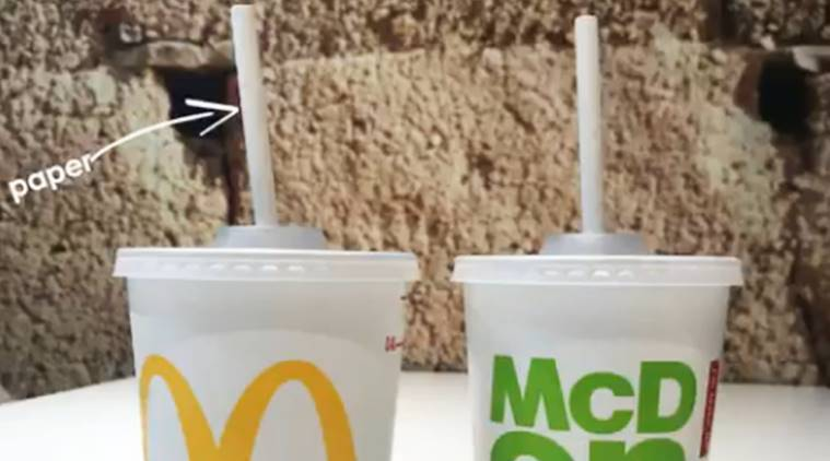 McDonald's Uk straw ban, McDonald's plastic straws ban, McDonald's paper straws, McDonald's plastic pollution straw ban, McDonald's marine pollution, indian express, indian express news