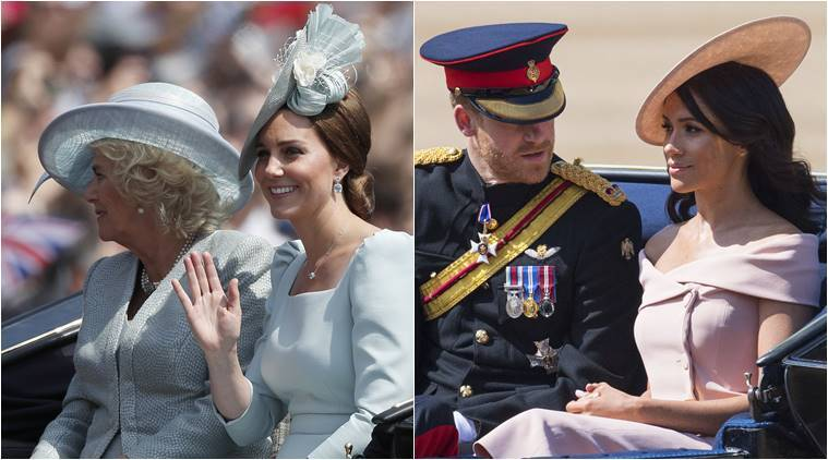 Meghan Markle trooping the colour, kate middleton trooping the colour, meghan markle queen elizabeth's birthday parade, kate middleton queen elizabeth's birthday parade, meghan markle fashion, meghan markle latest photos, indian express, indian express news