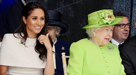 Meghan Markle's elegant beige dress perfectly complements Queen Elizabeth's lime green ensemble