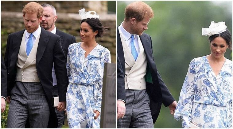 Meghan Markle looks stunning in an Oscar de la Renta Wrap Dress as she attends Princess Diana's niece's wedding