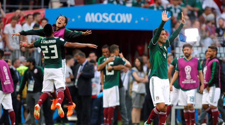 Mexico's Rafael Marquez, Jesus Gallardo and team mates celebrate at the end of the match