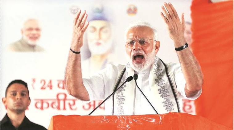 PM Narendra Modi at the public meeting in Maghar. (Express photo by Vishal Srivastav)