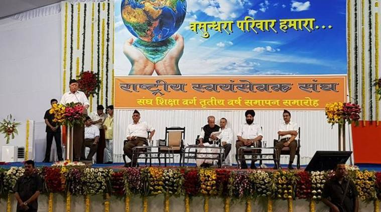 RSS chief Mohan Bhagwat at the event in Nagpur on Thursday. (Twitter/@RSSorg)