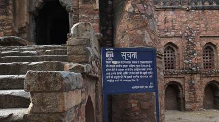 At 14th Century monument in Delhi, the word 'masjid' keeps disappearing from board
