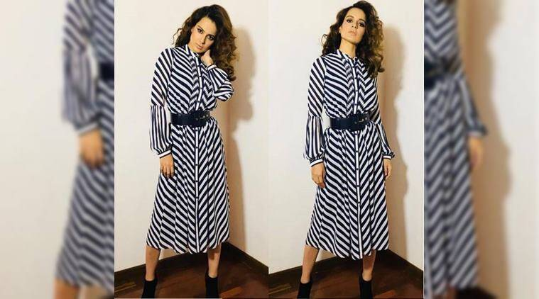 kangana ranaut, formal attire, work wear, summer style, bollywood fashion, ruffled blouse, floral skirt, shirt dress, wide leg trousers, Indian Express, Indian Express News
