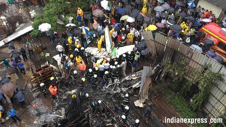 Two dead as private plane crashes in Mumbai