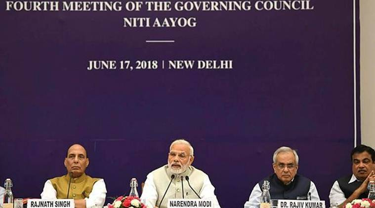 Prime Minister Narendra Modi at the fourth meeting of the Governing Council of NITI Aayog, in New Delhi on Sunday. (PTI)