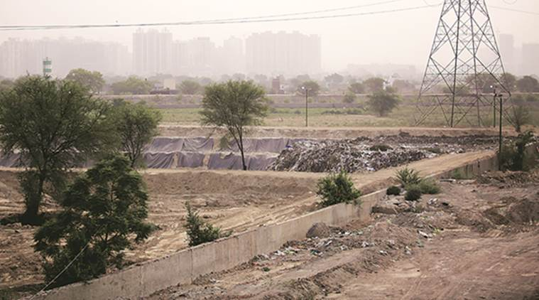 Garbage disposal stopped at the Sector 123 site. (Express photo/Praveen Khanna)