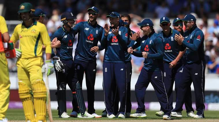 England players celebrates the wicket of Australia's Tim Paine, during the One Day International match between England and Australia, at Emirates Old Trafford, in Manchester