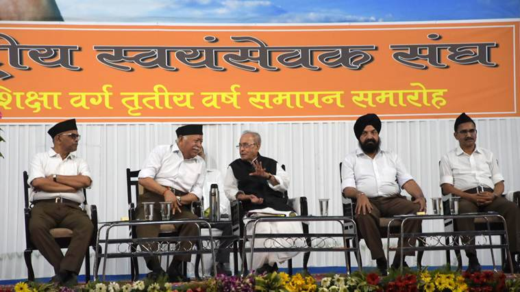 pranab mukherjee, pranab mukherjee speech, mohan bhagwat, pranab mukherjee RSS event, rss event in nagpur, pranab mukherjee nagpur event, indian express news