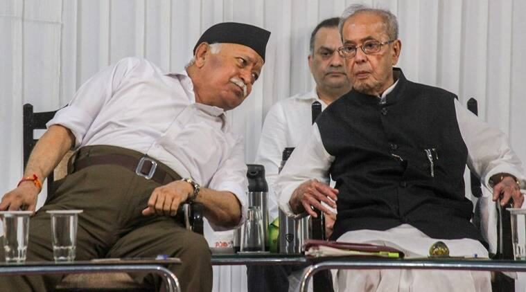 Former President Pranab Mukherjee with RSS chief Mohan Bhagwat at the event in Nagpur.