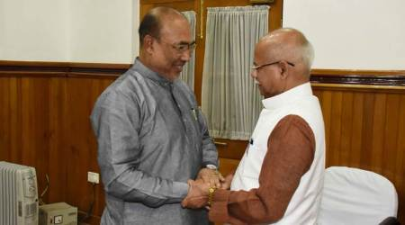 Manipur Chief Minister N Biren Singh met Union Minister Pratap Shukla in Imphal on Monday. (Express photo)